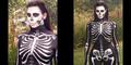 Foto Seram Kim Kardashian Berkostum Tengkorak untuk Halloween