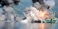 2 Kapal Maling Ikan Dibom TNI AL di Teluk Ambon