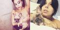 Lady Gaga Pose Topless Sambil Gendong Anak Anjing