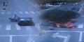 Pemotor Selamat Meski Dihantam Sedan Hingga Motornya Terbakar