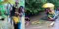 Pasangan Ini Terjang Banjir Sedalam 3 Meter Menuju Pelaminan
