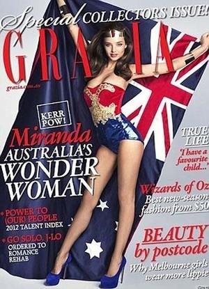Behind the Scene: Miranda Kerr jadi Wonder Woman Bugil di Majalah Grazia