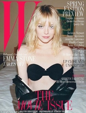 Tampil di W Magazine, Emma Stone Pilih Hanya Pakai Bra