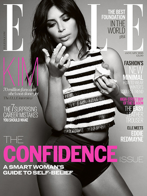 Foto Kim Kardashian Seksi Menggoda di Cover Majalah Elle