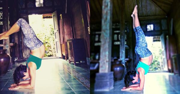 foto hamil 9 bulan widi mulia yoga posisi terbalik